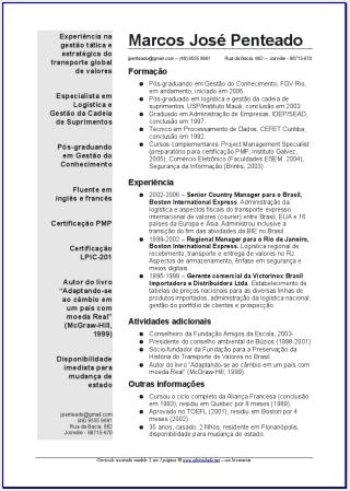 Modelo De Curriculum Vitae Bigw Brasil